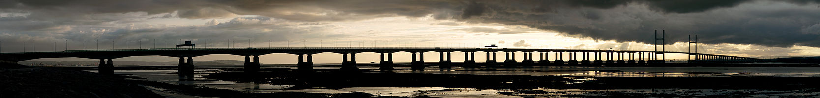 View of the Second Severn Crossing from Severn Beach on the English side.
