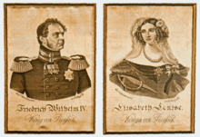 "Silk pictures with the portraits of Friedrich Wilhelm IV and his consort Elisabeth. The board frame bears the legend: ""The first pictures woven in silk / made in the year 1847 in the silk weaving factory of / Wilhelm and Carl Dieckmann in Elbersfeld / and presented by the manufacturer to King Friedrich Wilhelm IV / in a special audience."" (Source: Wikimedia)"