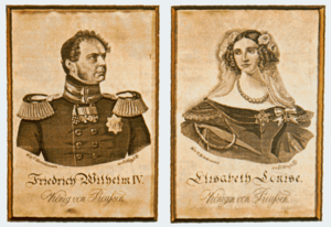 "Elisabeth Ludovika of Bavaria - Silk pictures with the portraits of Friedrich Wilhelm IV and his consort Elisabeth. The board frame bears the legend: ""The first pictures woven in silk / made in the year 1847 in the silk weaving factory of / Wilhelm and Carl Dieckmann in Elbersfeld / and presented by the manufacturer to King Friedrich Wilhelm IV / in a special audience."""