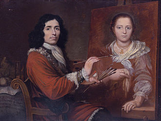 Giulio Quaglio the Elder - Self Portrait of the Artist Painting his Wife