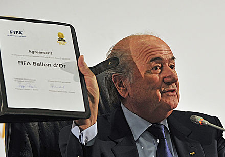 FIFA President Sepp Blatter holds up the agreement creating the FIFA Ballon d'Or in Johannesburg in July 2010. Sepp Blatter at signing of agreement creating FIFA Ballon d'Or in Johannesburg 2010-07-05 2.jpg