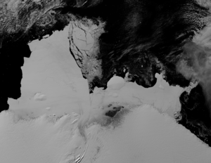 Shackleton Ice Shelf - NASA MODIS view of the ice shelf, seen in May 2009