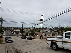 An image looking southward on 40th Street, Naval Base San Diego in the distance