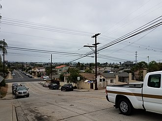 Shelltown, San Diego - An image looking southward on 40th Street, Naval Base San Diego in the distance