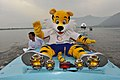 Shera, the Mascot of the Commonwealth Games Delhi 2010 takes a pleasant ride in the Dal Lake of the Srinagar, in Jammu and Kashmir on June 29, 2010.jpg