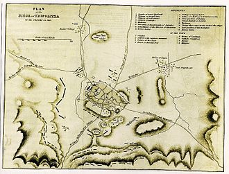 "Siege of Tripolitsa - Plan of the Siege of Tripolitsa. The detachments of Kolokotronis' division, which have surrounded the town are symbolized by the letter ""O""."