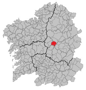 Portomarín - Location of Portomarín in Galicia.