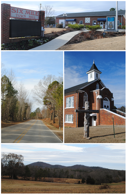 Top, left to right: Six Mile Town Hall, Liberty Highway, Six Mile Baptist Church, view of nearby mountain from Main Street