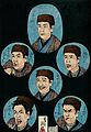 Six renditions of an older boy; the normal countenance is in Wellcome V0047353.jpg