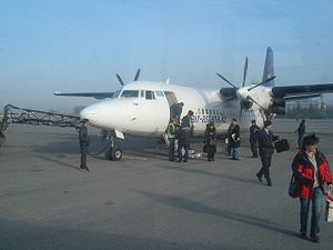 Shymkent International Airport - An Air Astana Fokker 50 parked at the airport