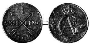 Skilling (currency) - One Swedish skilling, 1802