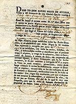 Contratto di acquisto di uno schiavo stipulato a Lima nel 1794