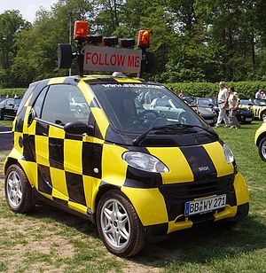 """Smartville, Hambach, France - Smart """"fortwo"""" special purpose vehicle """"Follow me"""""""
