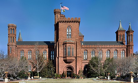 "The ""Castle"" (1847), the Institution's first building and still its headquarters Smithsonian Building NR.jpg"
