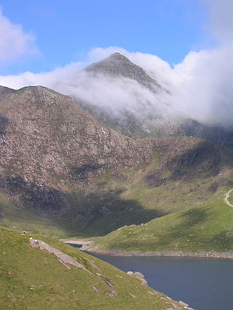 Snowdon, Gwynedd, the highest mountain in Wales Snowdon from Llyn Llydaw.jpg