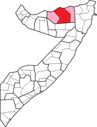 Location of Erigavo District within the Sanaag region.