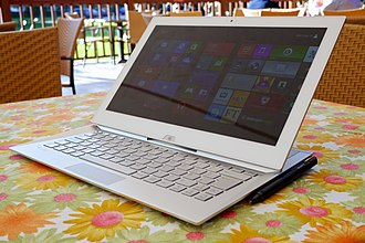 2-in-1 PC - Sony VAIO Duo, an example of a 2-in-1 convertible with a sliding keyboard