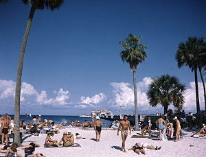 St. Petersburg, Florida - Spa Beach, located in downtown St. Petersburg, pictured in 1954