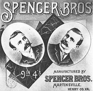 Spencer, Virginia - Label of Spencer Bros. Tobacco, one of three early plug chewing tobacco companies founded by the Spencer family of Spencer, Virginia
