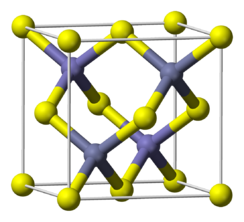 Ball and stick cell model of indium antimonide