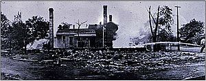 Springfield race riot of 1908 - An example of the damage caused to black residences in the riot