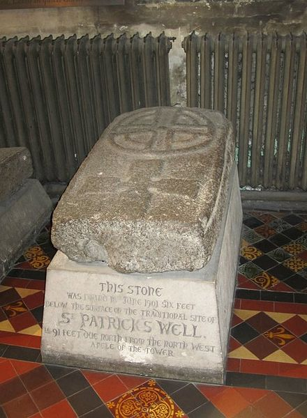 Stone found below St. Patrick's Well. St. Patrick's Cathedral, Dublin, Ireland. St. Patrick's Well.jpg