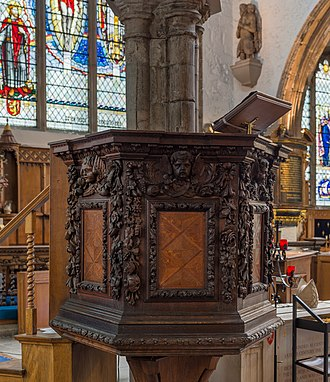 St Olave Hart Street - Image: St Olave Church, Hart Street Pulpit, London, UK Diliff
