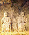 Standing Rock-carved Buddha Triad at Donmun-ri in Taean, Korea.jpg