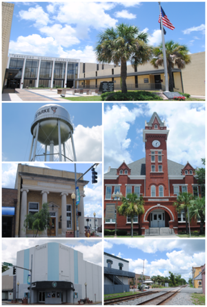 Starke, Florida - From top, left to right: Bradford County Courthouse, Starke water tower, Old Bradford County Bank, Old Bradford County Courthouse, Florida Twin Theatre, Railroad tracks running through Call Street Historic District