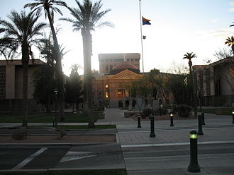 Arizona State Capitol - View from the east at sunset. (2007). The Senate building is on the left and the House building is on the right.