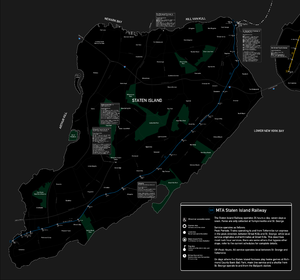 English: A map of the Staten Island Railway, c...