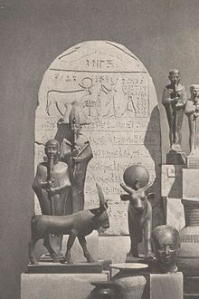 In the background, Shoshenq V standing in front of an Apis bull on a stela of his Year 37.