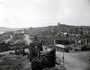 Great Fire of 1892 - City of St. John's after the great fire of 1892; the double steeples of the Basilica of St. John the Baptist (St. John's, Newfoundland) is visible on the far hill