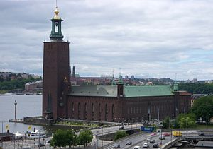 Okuma Auditorium - Stockholm City Hall (built between 1909–1923), which was thought to have had a major influence on the design of Okuma Auditorium