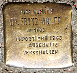 Photo of Fritz Wolff brass plaque