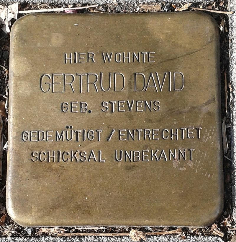 Stolperstein für Gertrud David (Dünnwalder Straße 25)