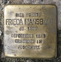Photo of Frieda Mansbach brass plaque