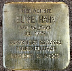 Photo of Elise Hahn brass plaque