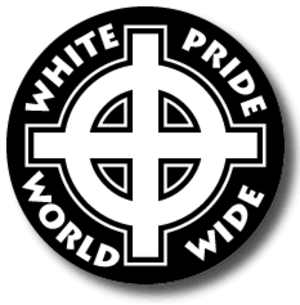 "Stormfront (website) - Stormfront's logo, featuring a Celtic cross surrounded by the motto ""white pride, world wide""."
