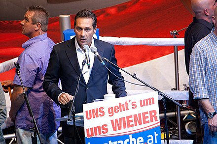 Heinz-Christian Strache, speaking at a rally before the 2010 Vienna elections.