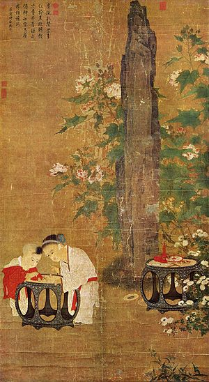 History of childhood - Playing Children, by Song Dynasty Chinese artist Su Hanchen, c. 1150 AD.