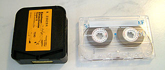 Super 8 film - A Super 8 film cartridge (Eastman Ektachrome) beside a compact audio cassette for scale