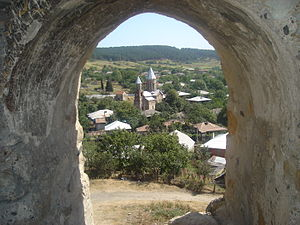 Surami - View of Surami's south-western part and The Mother of God Church from the Surami Fortress