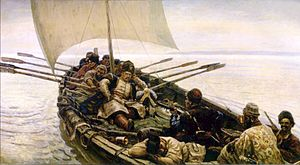 Stepan Razin - Stepan Razin Sailing in the Caspian Sea by Vasily Surikov, 1906.