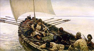 Caspian Sea - The 17th-century Cossack rebel and pirate Stenka Razin, on a raid in the Caspian (Vasily Surikov, 1906)