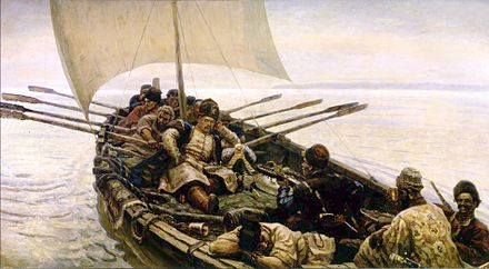 The 17th-century Cossack rebel and pirate Stenka Razin, on a raid in the Caspian (Vasily Surikov, 1906) - Caspian Sea