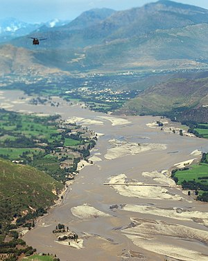 2010 Pakistan floods - Swat river washed off bridge in Upper Swat valley