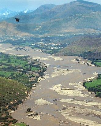 2010 Pakistan floods - Swat river washed off bridge in Upper Swat valley