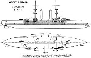 Antony Gibbs & Sons - Right elevation and deck plan as depicted in Brassey's Naval Annual 1915