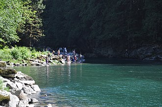 Snoqualmie National Forest - Eagle Falls swimming hole, South Fork Skykomish River, Snoqualmie National Forest, southeast of Index, Washington (pictured here in 2010).